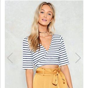 """""""Just My Stripe"""" Striped Wrap-Around Crop Top"""